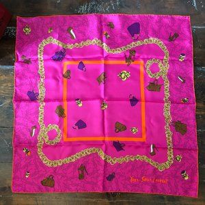 Yves Saint Laurent Fuschia Pink Silk Scarf 26X26